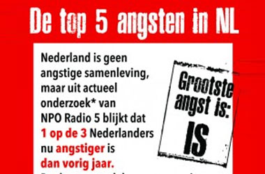 Infographic over top 5 angsten in Nederland als social media teaser voor radioprogramma over Angst in Nederland