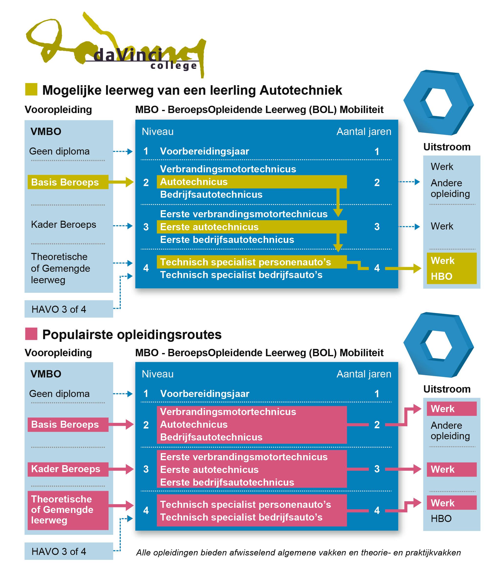 Infographic opleiding stroomschema Da Vinci College