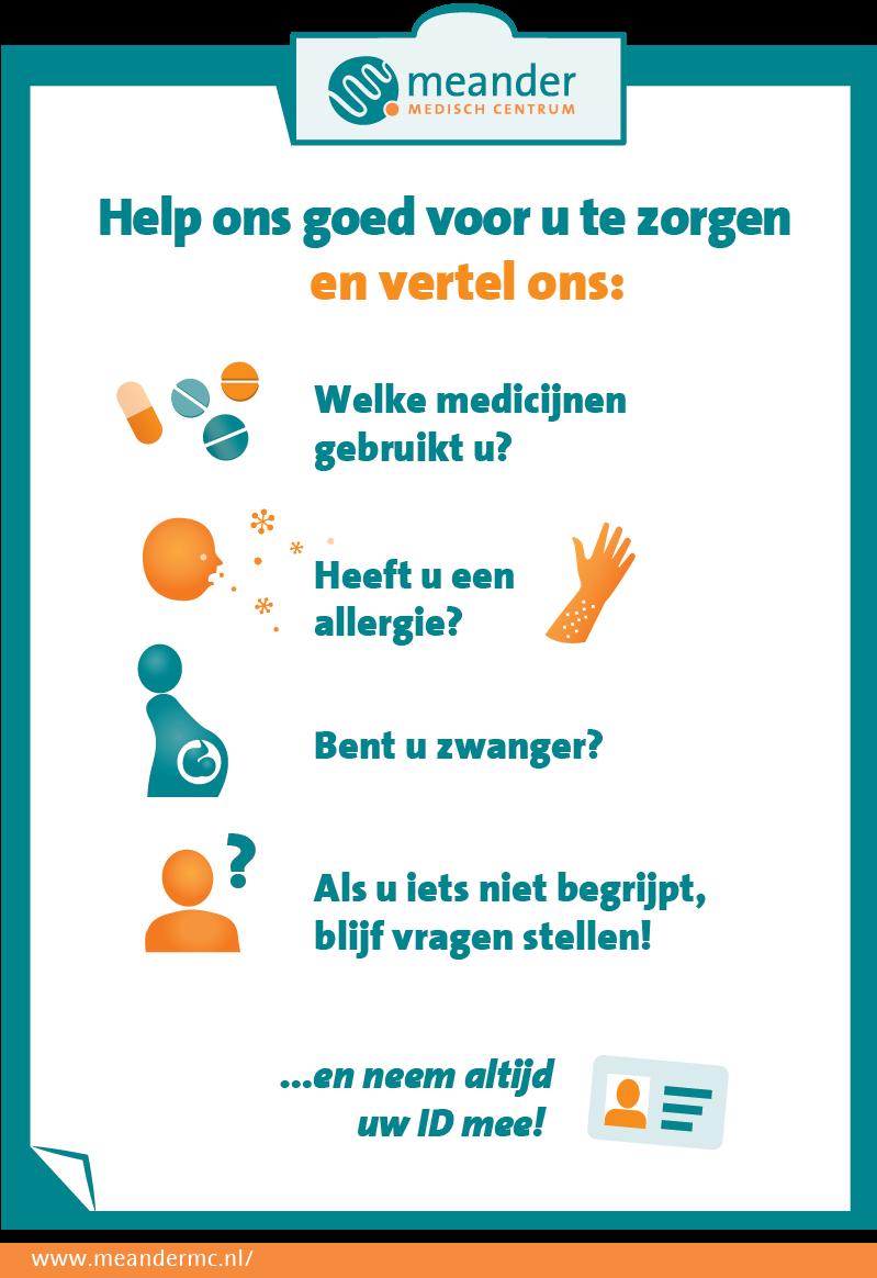 Infographic voor MeanderMC die patiënten helpt alle noodzakelijkheden bij zich te hebben en de informatie te geven die hun behandeling of opname vergemakkelijkt. Doel: De behandeling van patiënten versoepelen.